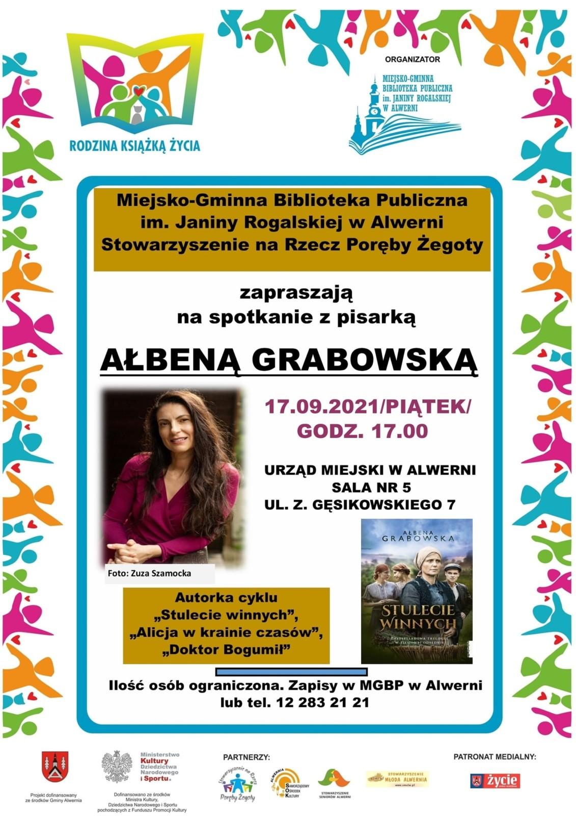 Spotkanie autorskie z pisarką Ałbeną Grabowską, Alwernia 17.09.2021 r.